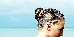 girl with a braided bun