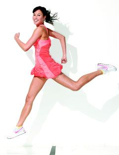 girl jogging in mid air