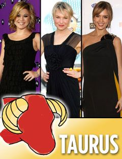 kelly clarkson renee zellweger and jessica alba with the taurus symbol