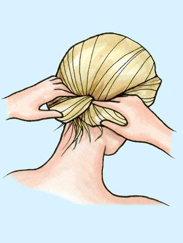 cartoon model pinning hair back