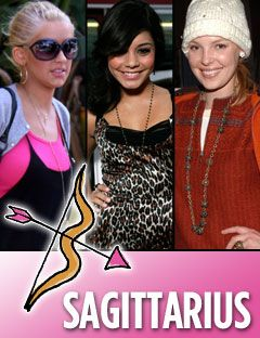 katherine heigl christina aguilera and vanessa hudgens with the sagittarius symbol