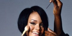 rihanna getting her makeup done
