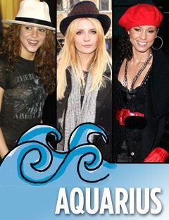 shakira mischa barton and alicia keys with the aquarius symbol