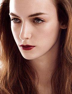 girl with dark red lipstick