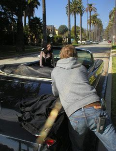 michelle trachtenberg doing a photo shoot in a car