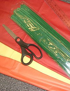 scissors tissue paper a ruler and green pipe cleaners