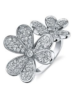 sterling silver white topaz flower ring