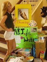 Yellow, Room, Photograph, Human leg, Thigh, Blond, Waist, Active shorts, Stairs, Abdomen,