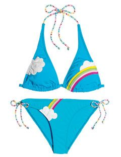 blue bikini with rainbow