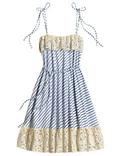 striped baby doll dress with lace
