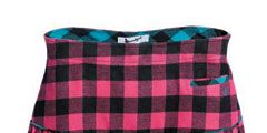 pink and black checkered skirt