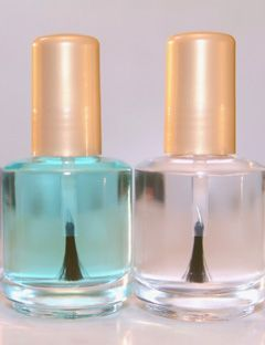 two bottles of clear nail polish