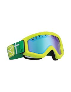 snowboarding goggles in neon green