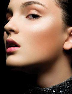 model wearing bronzer