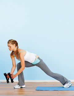 girl in lunge position holding weights