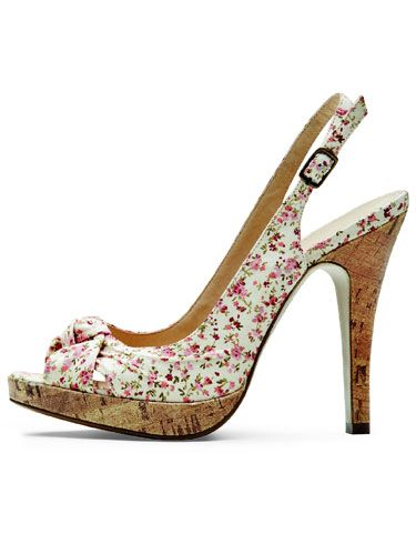 Floral slingback with cork heel