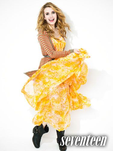 Emma Roberts in a yellow floral dress and motorcycle boots for May 2011 issue.