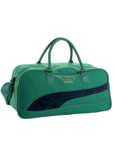 puma green suede gym bag
