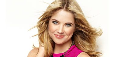 Ashley Benson in a red and pink dress on her seventeen magazine shoot