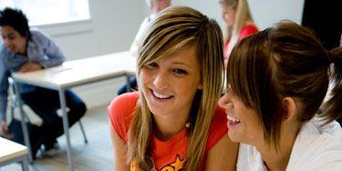 two girls in class
