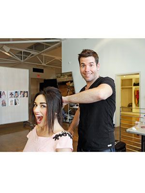 Crystal Reed getting her hair done for a photoshoot