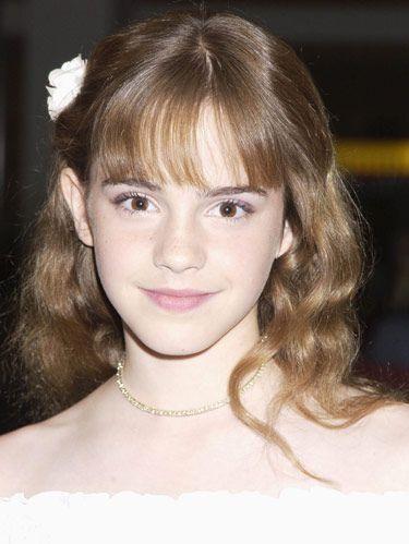 2002 emma watson in white dress and pink lipstick