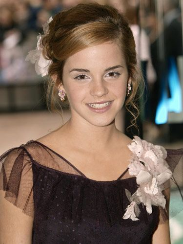 2004 emma watson in black dress with flowers