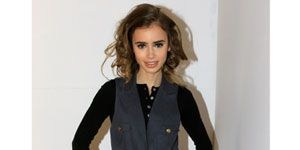 Lily Collins during fashion week backstage