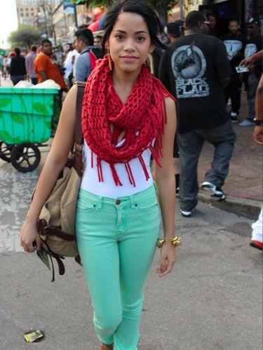 Clothing, Trousers, Road, Textile, Street, Public space, Style, Street fashion, Denim, Bag,