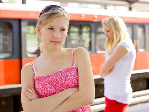Transport, Shoulder, Red, Public transport, Rolling stock, Railway, Beauty, Train, Sunglasses, Travel,