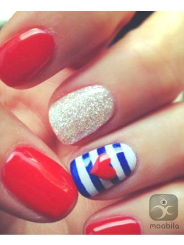 Patriotic Nail Art Red White And Blue Nails