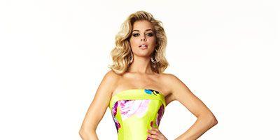 Clothing, Yellow, Dress, Shoulder, Textile, One-piece garment, Strapless dress, Waist, Formal wear, Style,