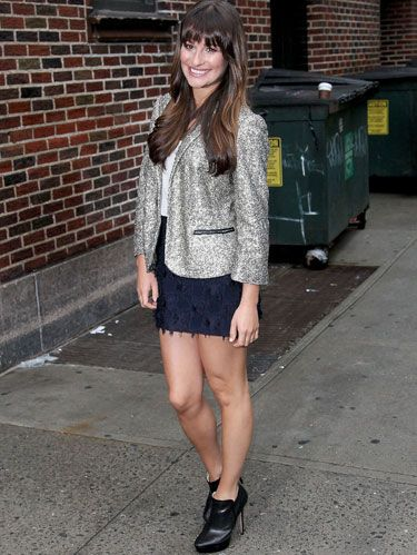Lea Michele's metallic jacket