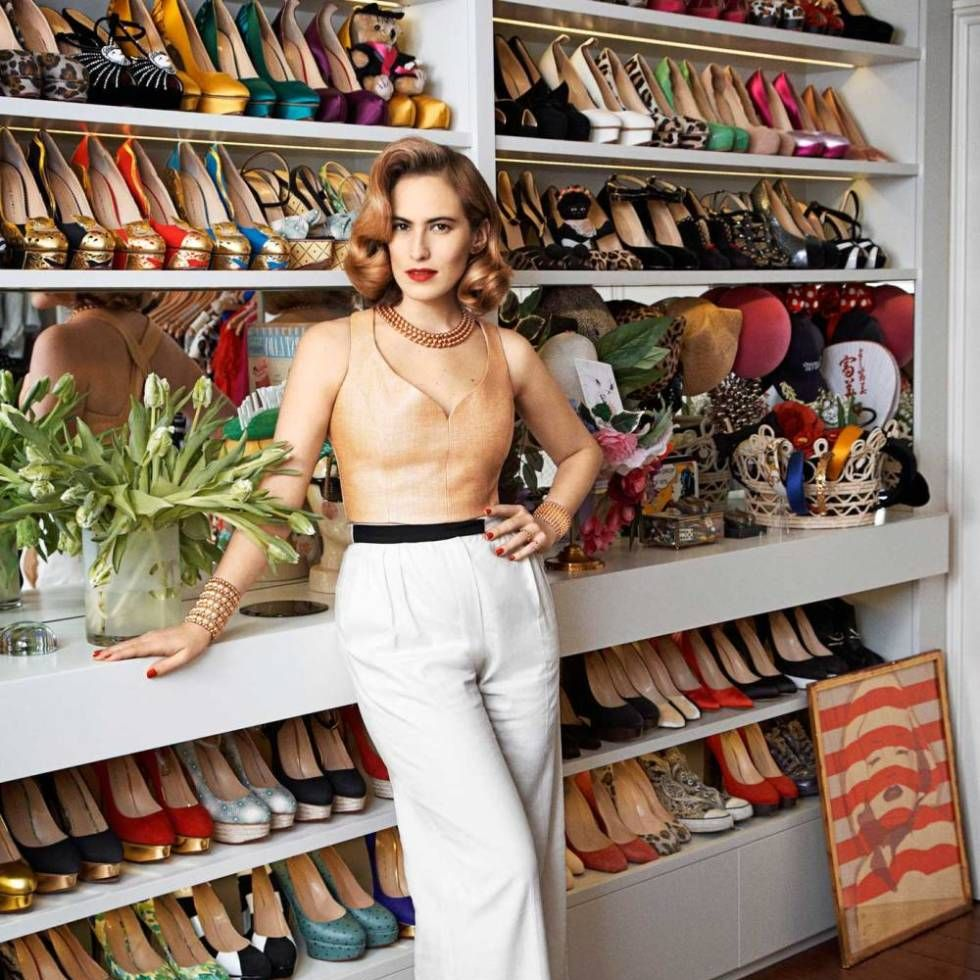 Charlotte Dellal in her London closet.Photograph by Philip Sinden