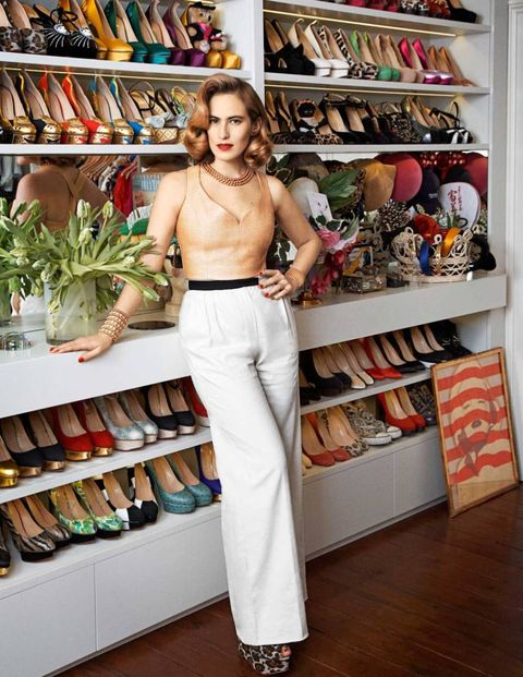 Charlotte Dellal in her London closet.  Photograph by Philip Sinden