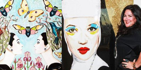 """Audrey Hepburn collection, Sarah Ashley Longshore with her """"Kate Moss nun"""" painting"""