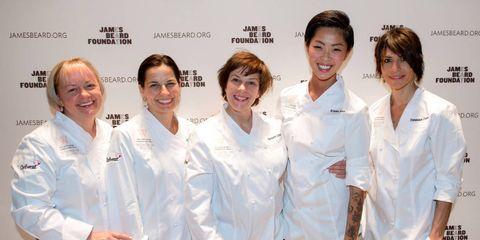 From left: Chefs Sherry Yard, Melissa Kelly, Barbara Lynch, Kristen Kish, and Dominique Crenn.