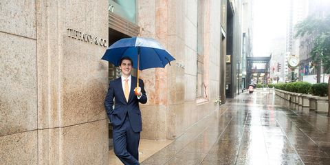 Clothing, Trousers, Coat, Collar, Umbrella, Outerwear, Standing, Suit, Street fashion, Street,