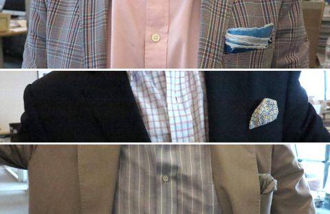 Dress shirt, Collar, Sleeve, Pattern, Coat, Textile, Outerwear, Pocket, Formal wear, Blazer,