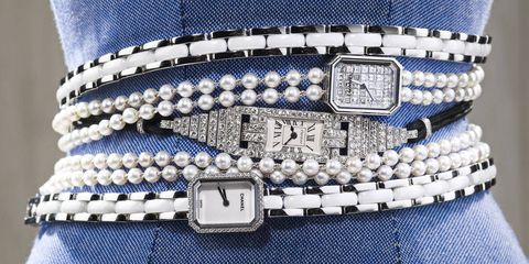 Her schedule was organized to the minute — not an ounce of wiggle room on any given day. Chanel Premiere Triple Row watch in steel, white ceramic, and diamonds ($9,900), and Premiere Perle in diamonds and pearls ($60,200); Stephen Russell watch, c. 1925 ($65,000).