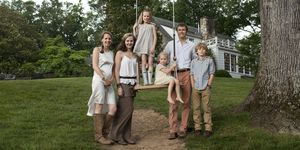 The Bealls of Blackberry Farm.From left: Mary Celeste, Cameron, Rose, Josephine, Sam IV, and Sam V. On Mary Celeste, Brunello Cucinelli silk dress ($1,195); Hermès boots ($1,900). On Cameron, Brunello Cucinelli skirt ($2,145); NDC belt ($184); Frye boots ($258). On Rose, La Stupenderia polka-dot dress ($465); her own Hunter boots. On Josephine, Bonpoint tulle dress ($535). On Sam IV, Loro Piana shirt ($460) and pants ($475); his own Lidfort shoes. On Sam V, Ralph Lauren children's oxford ($40) and chinos ($45).