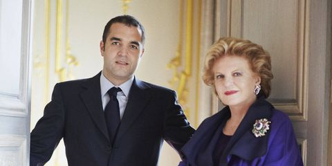 Olivier Reza and his mother Karin, photographed at 21 Place Vendôme, their newly reopened jewelry salon. Karin's pin was designed for Sammy Davis Jr.