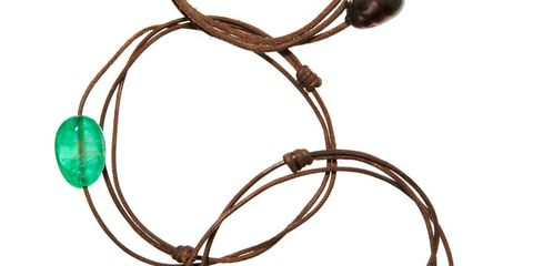 Prince Dimitri of Yugoslavia strings leather cords with rare gemstones for friends like Carolina Herrera, who wears them in multiples ($500 for amethyst; $10,000 for sapphire) 646-747-2526.