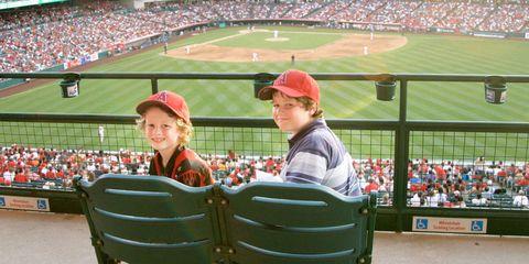 Eamon and Henry Hauser at Anaheim's Angel Stadium.