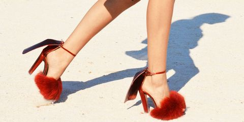 Red fur on the street.