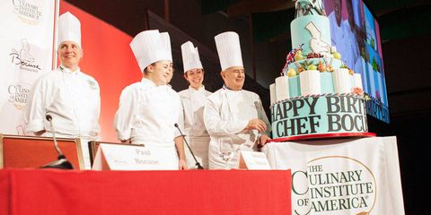 The seven-foot cake created in celebration of Chef Paul Bocuse's 87th birthday by pastry students.