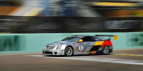The Cadillac race car on the track at the Homestead-Miami Speedway.