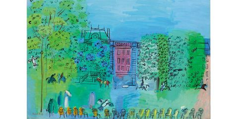 The spring sales are full of Fauves, a reunion that highlights the amazing decorative gifts of a class that included modernist luminaries like Matisse and Braque. Raoul Dufy is not usually included in the top ranks of the alums, but such playground games don't seem to have mattered to Dufy, who happily made scarves for Charvet and wallpaper for Atelier Martine. Dufy is a signature member of the gang—he showed in the Salon d'Automne in 1907 at the peak of movement—but by 1928, when he painted this charming scene of the Bois de Boulogne, there was very little of the wild beast in his bright palette of mellow rose and shimmery blues and spring greens.Christie's Impressionist and Modern Art, Day Sale, May 9.Lot 258; $300,000-$500,000.