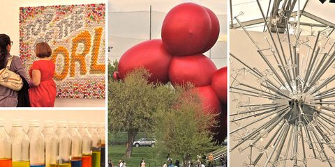 Bottle, Plastic bottle, Art, Love, Collage, Bottle cap, Ornament, Creative arts, Sphere, Solvent,