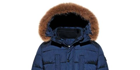 Blue, Brown, Jacket, Sleeve, Textile, Fur clothing, Hood, Natural material, Fashion, Black,